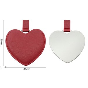 Portable Heart Shaped Stainless Steel Pocket Makeup Mirror PU Leather Travel Mini Mirrors Creative DIY Gift Supplies BWA8872