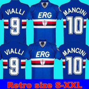 90 91 Sampdoria Retro Mancini 10 Vialli 9 Home Soccer Jersey Maglie da Calcio 1990 1991sampdoria Camisa de futebol clássico retrô Maillot