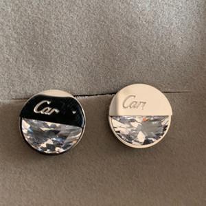 الرجال النساء جودة عالية أزياء الزفاف 316l التيتانيوم الصلب 18 كيلو الفضة روز الذهب كبير الماس إلكتروني أقراط سيدة هدية عيد