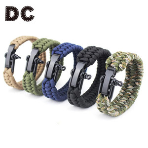 1PC Top Outdoor Camping Survival Paracord Bracelet Men Women Parachute Cord Rope Stainless Steel Bracelets