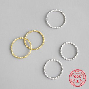 Korean Real S925 Sterling Silver Fine Rings Simple Pattern Gold Plated Circle Personality Fashion Rings Women Jewelry