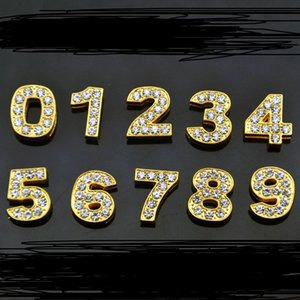 10mm Golden Full Diamond Numbers License PlateD Key Chain Letters Jewelry Findings Components Designer Charms Designer DIY JEWELRY MAKING