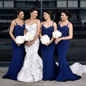 2021 Elegant Country Bridesmaid Dresses Mermaid Spaghetti Sweep Train Wedding Guest Dresses With Applique Elastic Satin Maid Of Honor Gowns