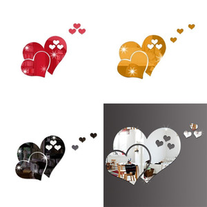 Love Heart Shaped Wall Sticker 3D Home Furnishing Art Decorate Stickers DIY Room Decor Valentine Day GWD4974