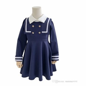 Preppy style Girls navy lapel long sleeve dress 2021 kids double-breasted pleated dresses INS children school clothing A7775