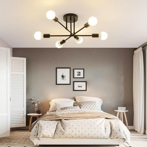 Lampadari moderni Sputnik Lampade a soffitto a LED semi-incorporato Lampada da soffitto spazzolato Antique Illuminazione oro 6 luci Decorazione domestica nordica