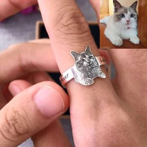 Vsteel Picture Print Personalized Photo Engraved Rings Customized Ring Jstainless for Family Pet Memory Jewelry Giftskf
