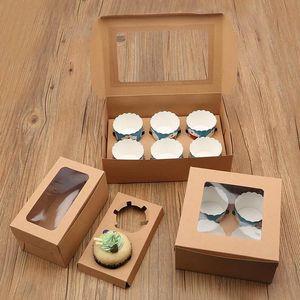 10 PCS Cupcake Boîte avec fenêtre transparente Boîtes de papier Kraft Brown Kraft Boîte à dessert Titulaires de cupcake Muffin Coupe Emballage DHC6172