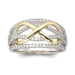 Wedding Rings Trendy Design Twist Cubic Zirconia Silver Color For Women Two Tone Ring Engagement Promise Jewelry Gifts