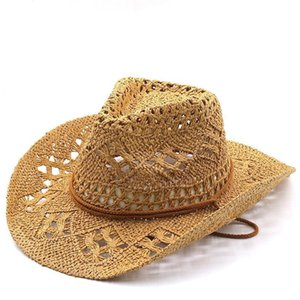 Широкие шляпы Breim Мода, выдолбленная ручной работы ковбойская соломенная шляпа женщины мужчины летние на открытом воздухе путешествия пляж унисекс сплошной западный солнечный