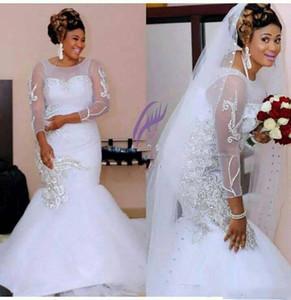2021 Mermaid Autumn Garden Wedding Dresses African Applique Lace Court Train Backless Hollow Zipper Long Sleeves Wedding Dress Bridal Gowns