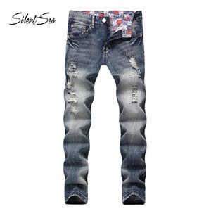Silex fashion motard jeans boutons boutonniers branchement designer hommes jeans haute qualité couleur bleue droite déchirée pour hommes