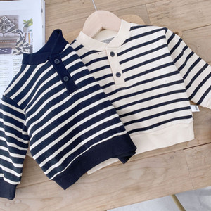 XZXY INS Korean Style New Baby Kids Little Boys Girls Stripes Sweatshirts Long Sleeve Winter Cotton Unisex Child Bountique Clothes Tops