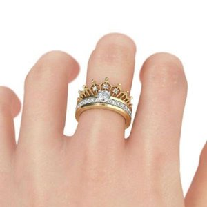 Crown CZ Rings for Women Engagement Rings Love Finger Ring 2PCS SET Cubic Zircon Diamond Wedding Band Rings Jewelry Anniversary Gift