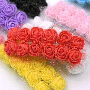 144pcs Pe Lace Foam Flowers Rose Mini Bouquet &teddy Bear Rose Flower Diy Gifts Wreath Artificial Flower Foams Fake qylcaI