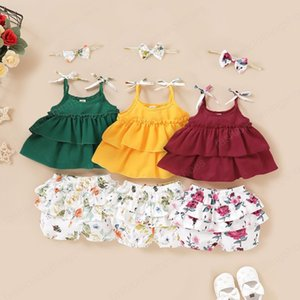 kids clothes girls outfits children Sling ruffle Tops+Floral print shorts+Bow 3pcs sets 2020 summer baby Clothing Sets