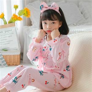 New Autumn girls cute pajamas set spring children cartoon loungewear 3D kids pyjamas set girls winter pyjamas with Hair band