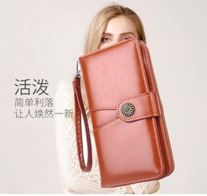 money clips wallet women's large capacity mobile phone vintage oil leather stitching