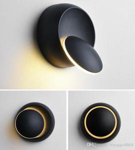 LED Wall Lamp 360 Degree Rotation Adjustable Bedside Light Black Modern Aisle Round Lamp
