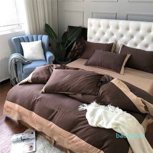 Luxury Brown Bedding Sets Simple Embroider Cotton Full Old Flower Duvet Cover 2021 Hot Sale Home Textiles2021