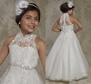 2021 New Long Flower Girl Dress with Appliques Beading Buttons First Communion Gowns Sleeveless New Arrivals Custom Made