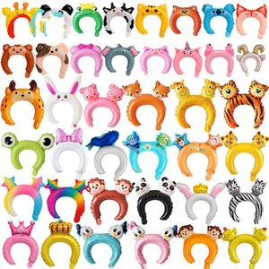 Cute headband foil balloon rabbit bear Cartoon animal balloon pink children's toys baby shower birthday party decoration