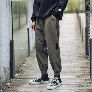 2021 New Japanese Fashion Cotton Cargo Harem Capri Loose Ny Ankle-tied Hip Hop Pants Male Jogging 9oto