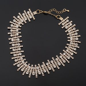 Fashion Women Full Crystal Rhinestone Chokers Necklace Diamond Statement Necklace for Bride Baroque Necklace Wedding Party Jewelry