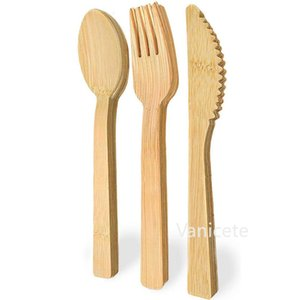 Yeni Bambu Sofra Seti 13.5 cm Çevre Koruma Tek Kullanımlık Bambu Bıçak / Çatal / Kaşık Çözünebilir Yemek ZC090