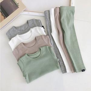 New Autumn Spring Children Kids Pajamas Baby boys Girls Solid Cotton Lounge Set Home Wear 2pcs Elastic Underwear 2T-6T 210304