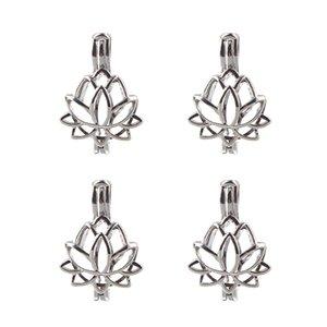 5pcs Argento Colore Lotus Flower Flower Perline Perline Cage Charms Medaglione Medaglione Essenziale Diffusore Di Diffusore Gioielli all'ingrosso Copper OM Ohm Aum Pendant C0227