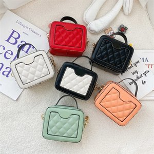 Girls handbag kids Metal Chain square bag children PU Leather one shoulder bags Lady Mini purese Messenger 2509 Y2