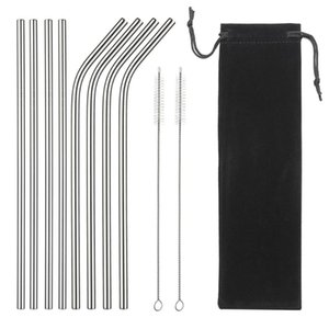 Drinking Straws 304 Stainless Steel Straw Reusable Metal Set Wholesale With Cleaning Brush Party Bar Accessory Eco Friendly
