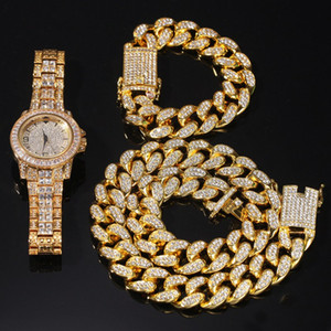 Hip Hop Bling Chain Jewelry Mens Necklace Iced Out Diamond Miami Cuban Link Chain Gold Silver Watch & Necklace & Bracelet Set