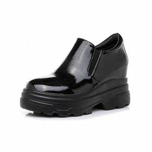 Womens Flat Platform Shoes 2019 Spring Leather Hidden Heel Ladies Sneakers Woman White Black Shoes For Woman Autumn Shoe Comfortable S Q9BR#