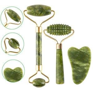 2 шт. Джейд массажный ролик набор для лица натуральный камень зеленый цвет лица массажер Gua Sha глаз шеи подъемник для похудения инструменты ухода за кожей C022801 C31