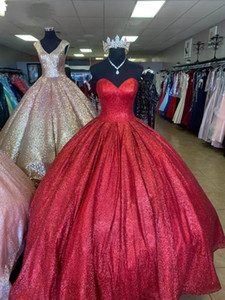Sparkly Red Quinceanera Dresses Sequins Sweetheart Neckline Floor Length Custom Made Princess Prom Ball Gown Sweet 16 Birthday Party Wear