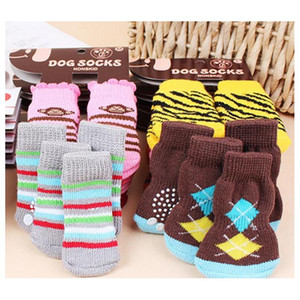 Hot Pet Dog Cat Warm Socks For Winter Cute Puppy Dogs Soft Cotton Anti-slip Knit Weave Sock Skid Bottom Dog Cat Socks jllNgo xmhyard
