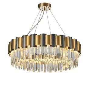 LED E14 Lámparas colgantes de cristal de acero inoxidable moderno LED Luces colgantes de oro Araña para villas Sala de estar Hotel Lobby Dinning Room Foyer