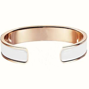 Fashion classic H open bangle hard body inlaid ceramic letter bracelet rose gold couple creative high-quality jewelry with exquisite packaging gift box