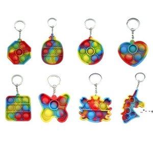 NewDeCompression 간단한 딤플 Fidget 장난감 푸시 버블 감각 장난감 다채로운 부드러운 quishy antistress 키 체인 펜던트 EWF7161