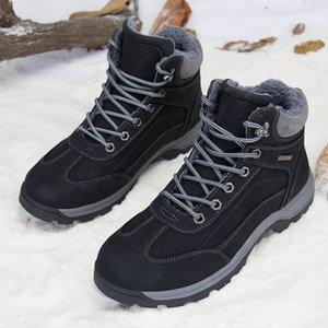 Merkmak Водонепроницаемые снежные мужские ботинки супер теплые мужские кожаные резиновые снежные шерстяные сапоги досуг зима наружные мужчины обувь U48R #