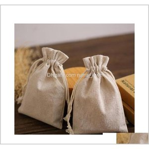 Natural Linen Gift Drawstring Pouches 8X11Cm 9X12Cm 10X15Cm Pack Of 50 Party Sack Soap Makeup Jewelry Gift Packaging Bags Zwokb E1Di2 0Ir3A