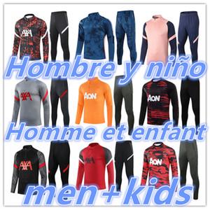 2020 2021 Mens + Kids Futebol Tracksuit Futebol Tracksuit Treinamento Terno Kits 20 21 Futebol Tracksuites Sobrevetimento Pé Chandal Tuta Jogging