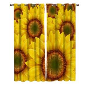 Curtain & Drapes Sunflower Cartoon Living Room Kitchen Indoor Print KidsWindow For Kids Bedroom Home Decor