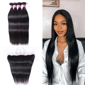 Double Weft Natural 1B Color Remy India Human Hair Bundles with Frontal Weaves 13x4 Peruvian Human Hair Extensions Straight Body Wave 4 Bundles