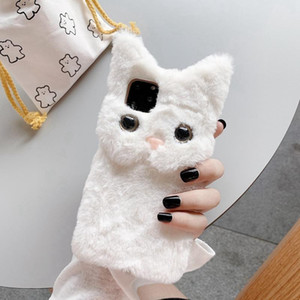 Luxury Warm 3D Cat Plush Fur Phone Case For iPhone 12 mini Pro max 11 Pro X XS MAX 6 6S 7 8 Plus Lovely Cute Furry Soft TPU hair Back Cover