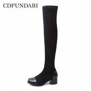 Knee Boots 여성 허벅지의 Cdpundari 스트레칭 패브릭 겨울 신발 여성 Botas Mujer Bottine Femme Womens 신발 하이킹 B G9Vn #