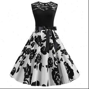 Vintage Hepburn Style Dress Women Plus Size Lace Up Lace Print Ladies Elegant Spring Summer Sleeveless Swing Party Dress