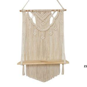 Bathroom Shelves Macrame Wall Hanging Shelf, Single Tier Wood Floating Shelf Organizer Hanger, Handmade Boho Home Decor Promotion HWF9088